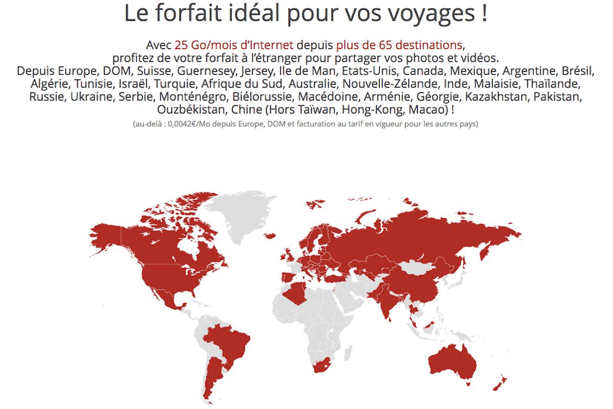 Forfait international Free Mobile