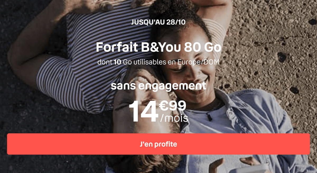 Forfait mobile 4G B&YOU 80 Go