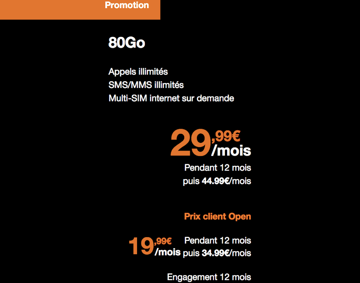 Forfait mobile Orange 80 Go