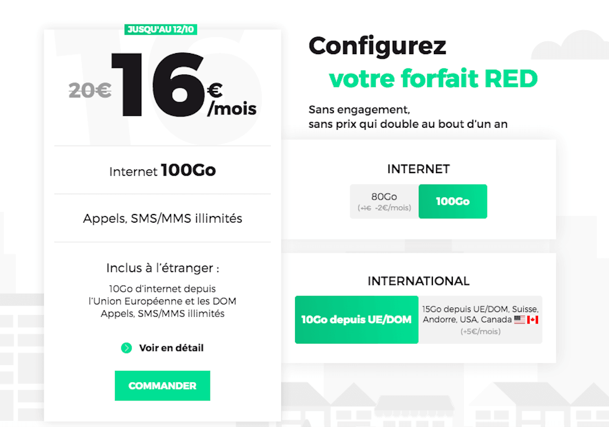 Forfait mobile RED 100 Go