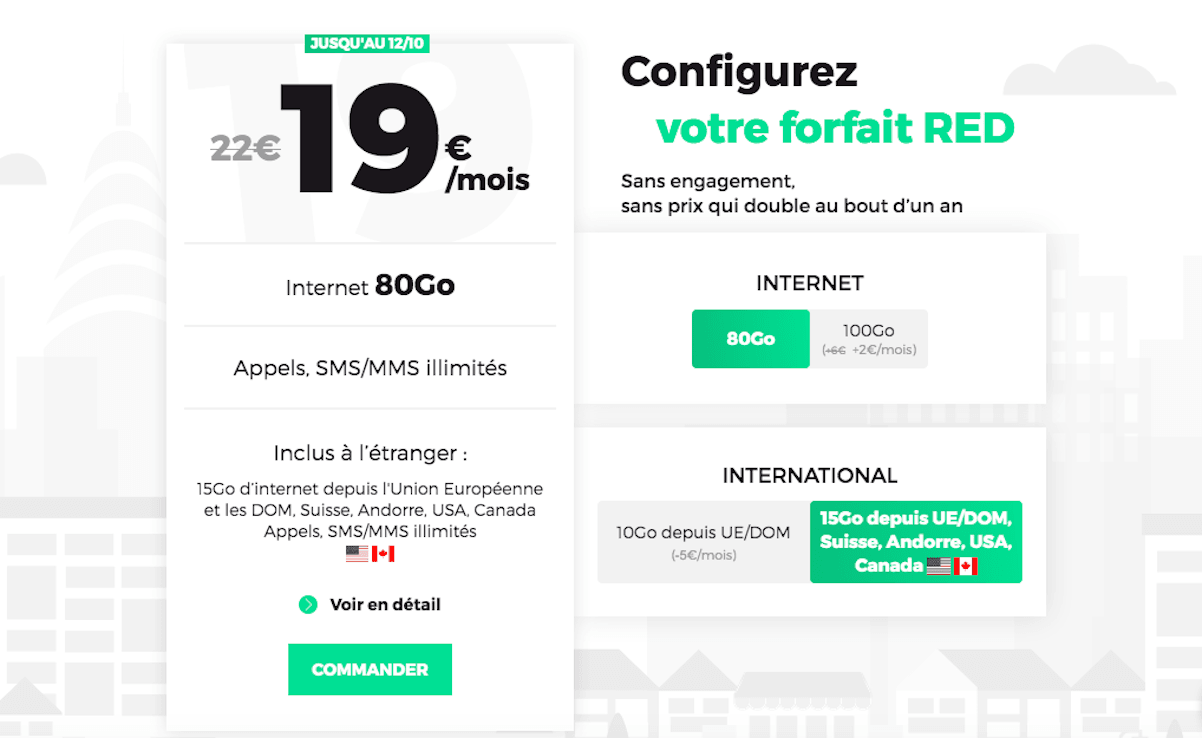 Forfait mobile RED international