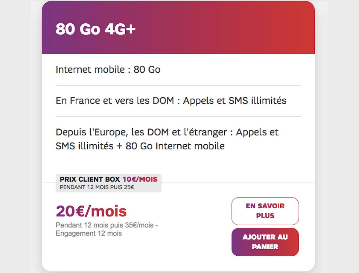 Forfait mobile SFR 80 Go