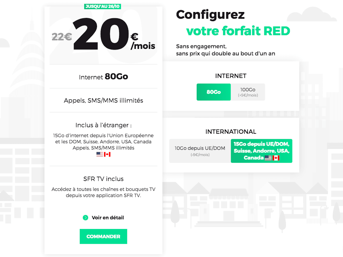 Forfait mobile pas cher RED international