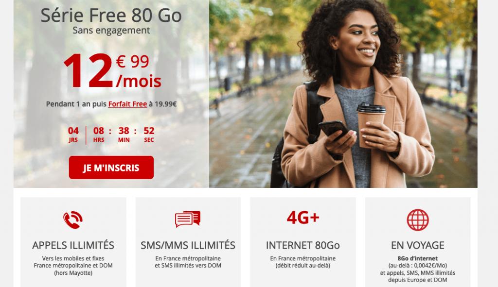 forfait mobile de 80 Go chez Free