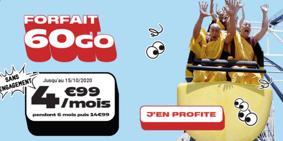 Le forfait mobile 60 Go de NRJ Mobile à 4,99€/mois