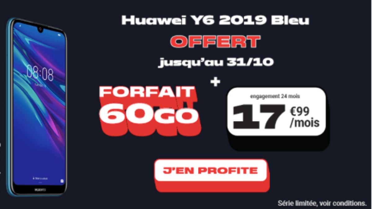 Le Huawei Y6 2019 offert avec le forfait 60 Go NRJ Mobile.