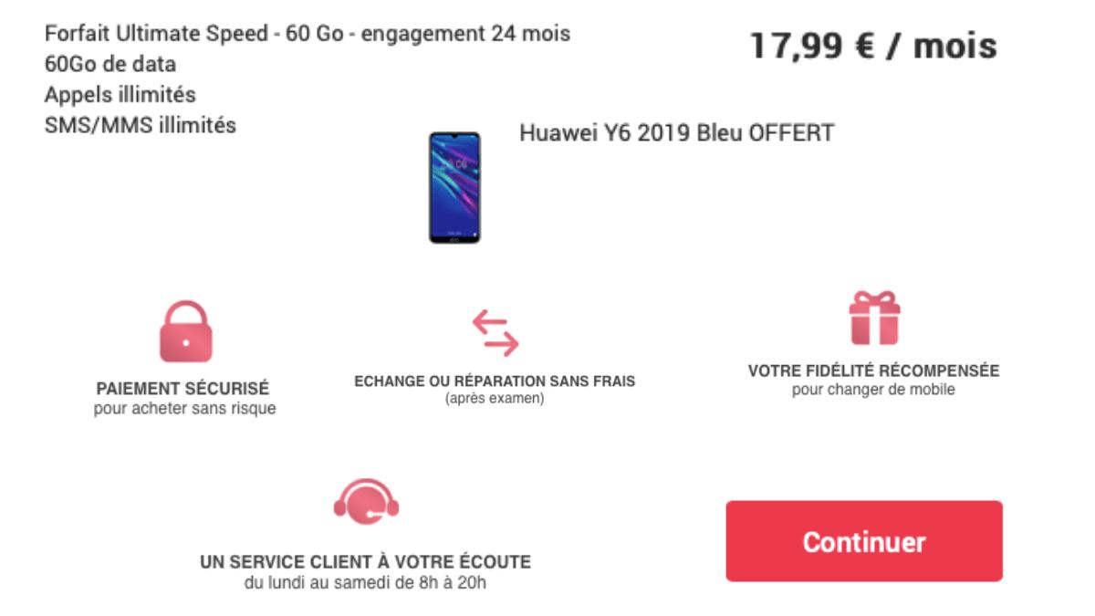 Un forfait 60 Go à 17,99€/mois.