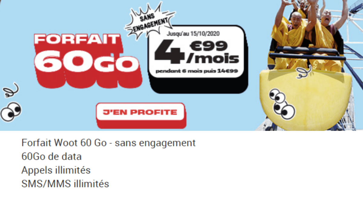 NRJ Mobile propose un forfait 60 Go à 4,99€/mois.