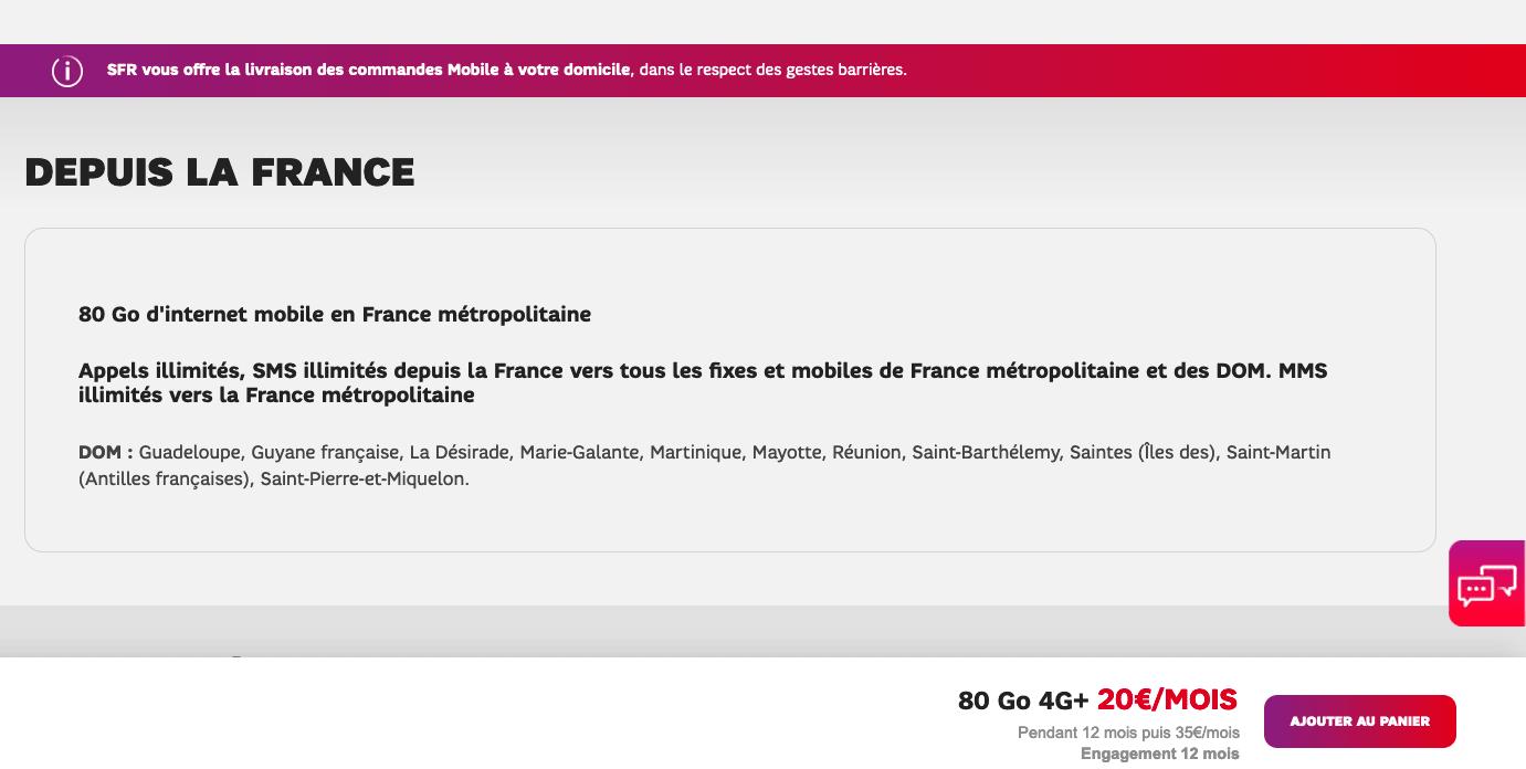 SFR forfait illimité 20e