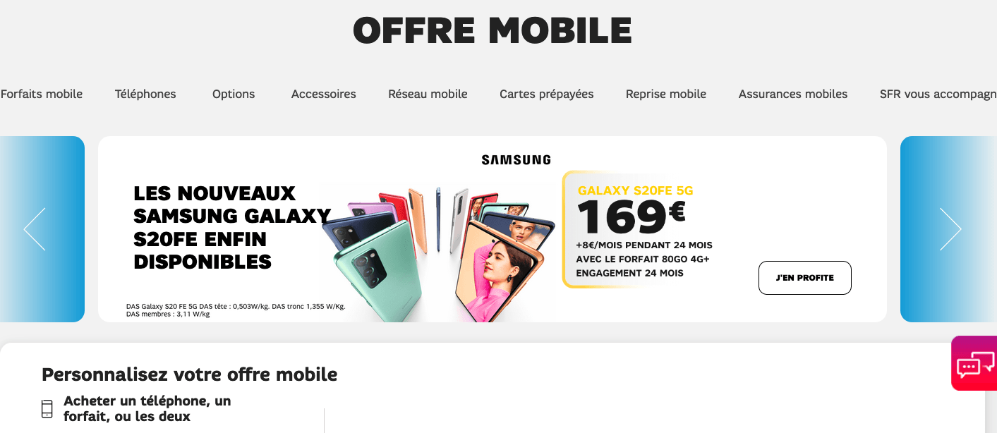 SFR offres mobiles Galaxy S20
