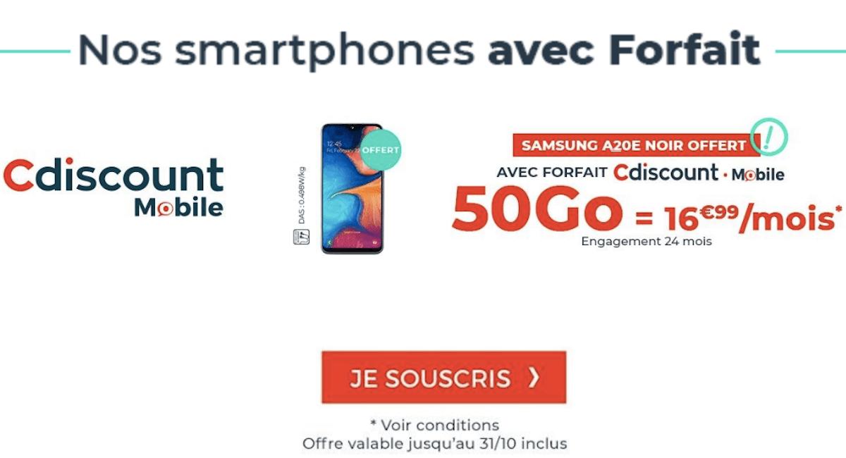 Samsung A20E Cdiscount Mobile forfait 50 Go
