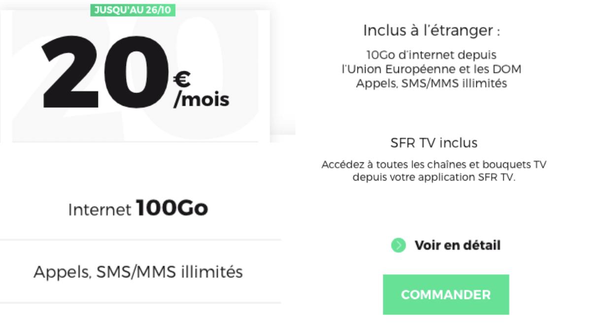 RED by SFR propose un forfait mobile à 20€/mois.