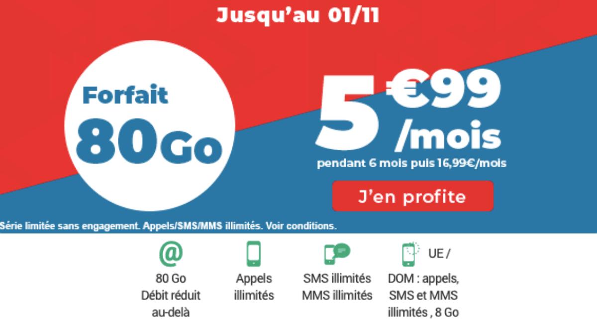 Un forfait 80 Go à 5,99€/mois.