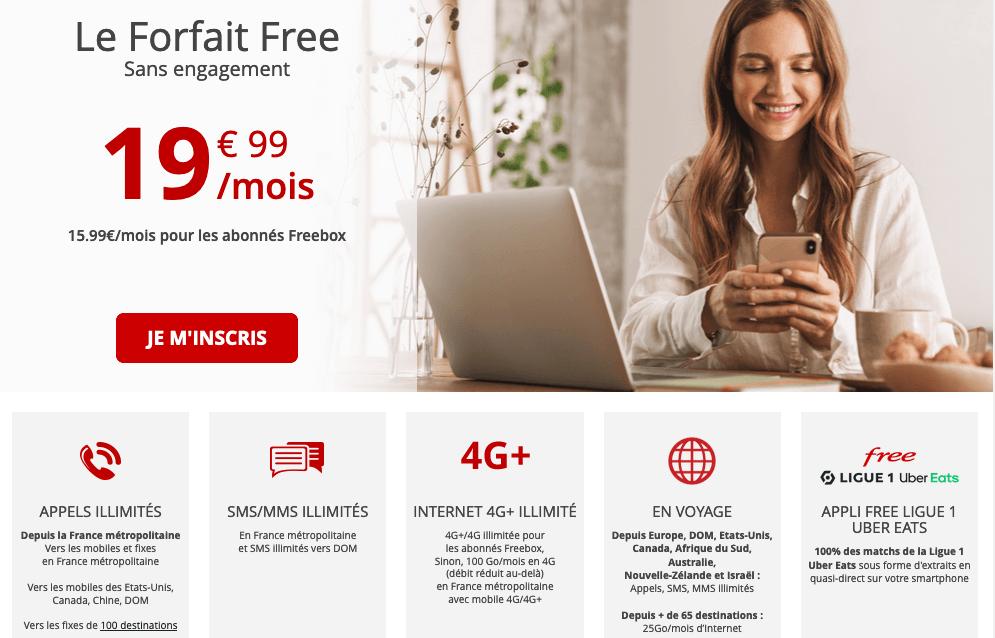 forfait mobile Free 100 Go