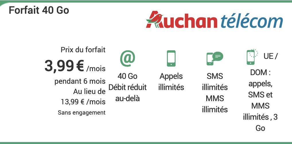 Auchan Telecom forfait mobile pas cher