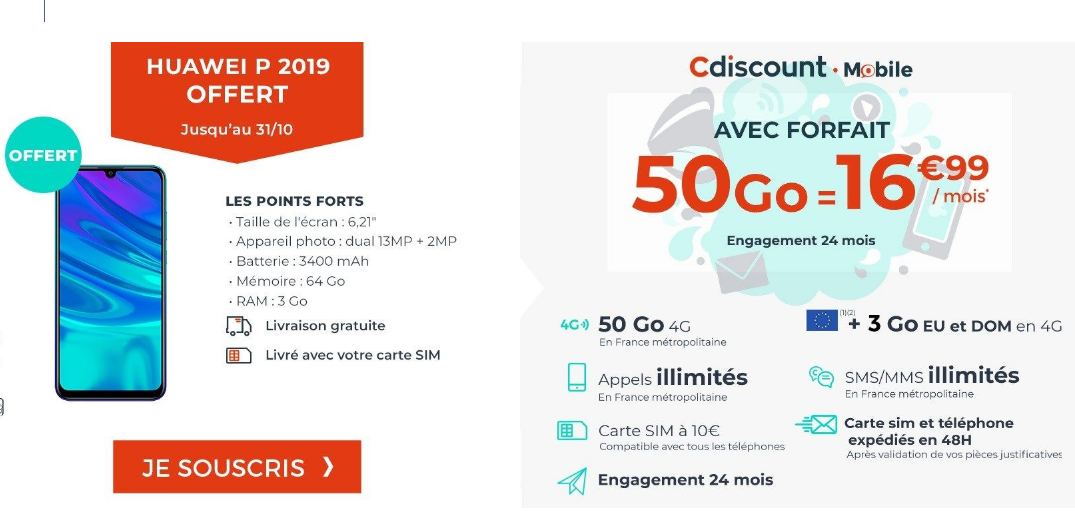 forfait mobile + Huawei P19 Cdiscount Mobile