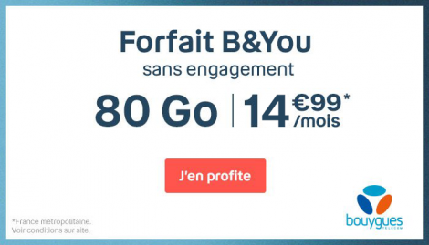 Forfait mobile B&YOU 80 Go.