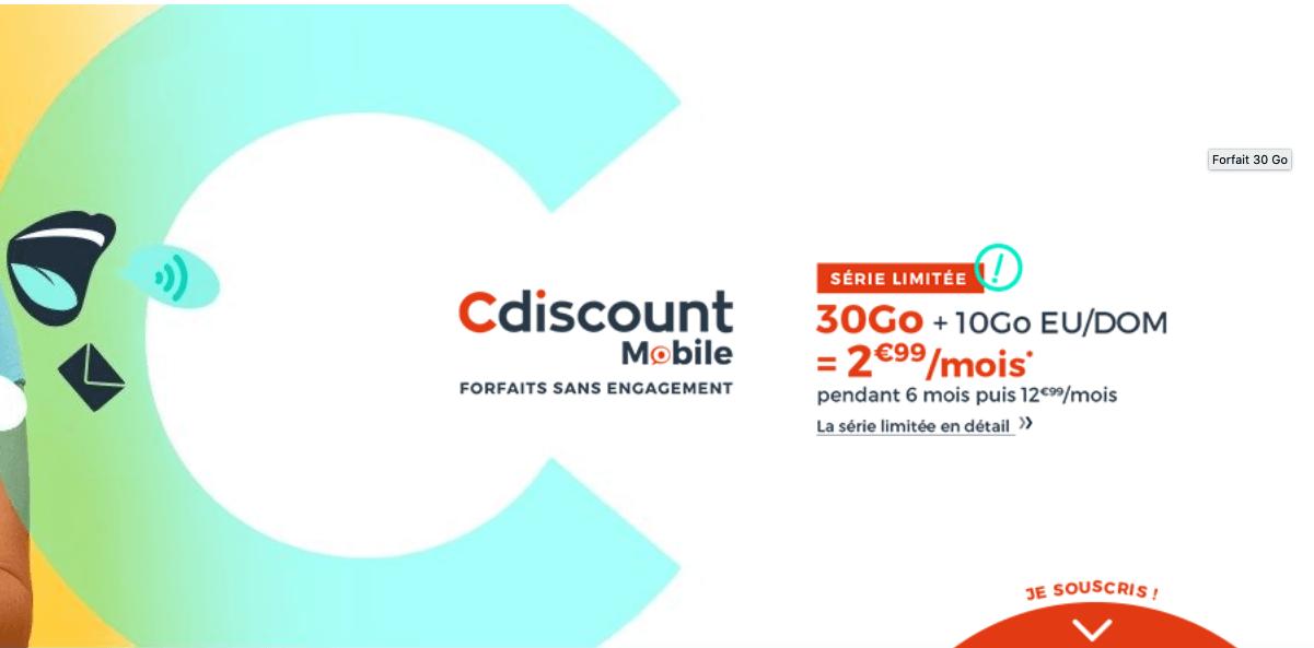 Cdiscount Mobile : 30 Go pour 2,99€/mois
