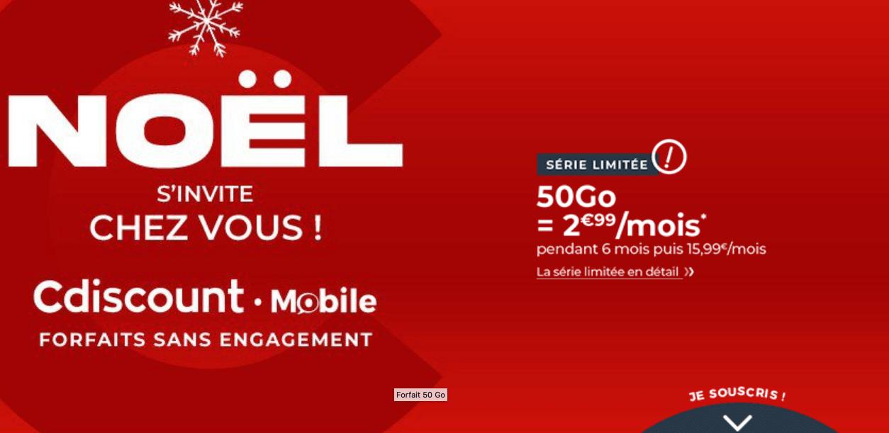 Cdiscount Mobile Noël 50 Go