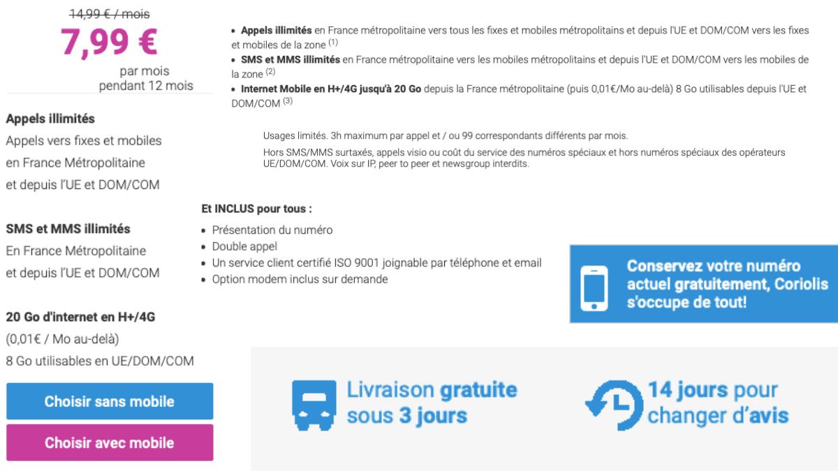 Le forfait 20 Go de Coriolis Telecom pour 7,99€/mois.