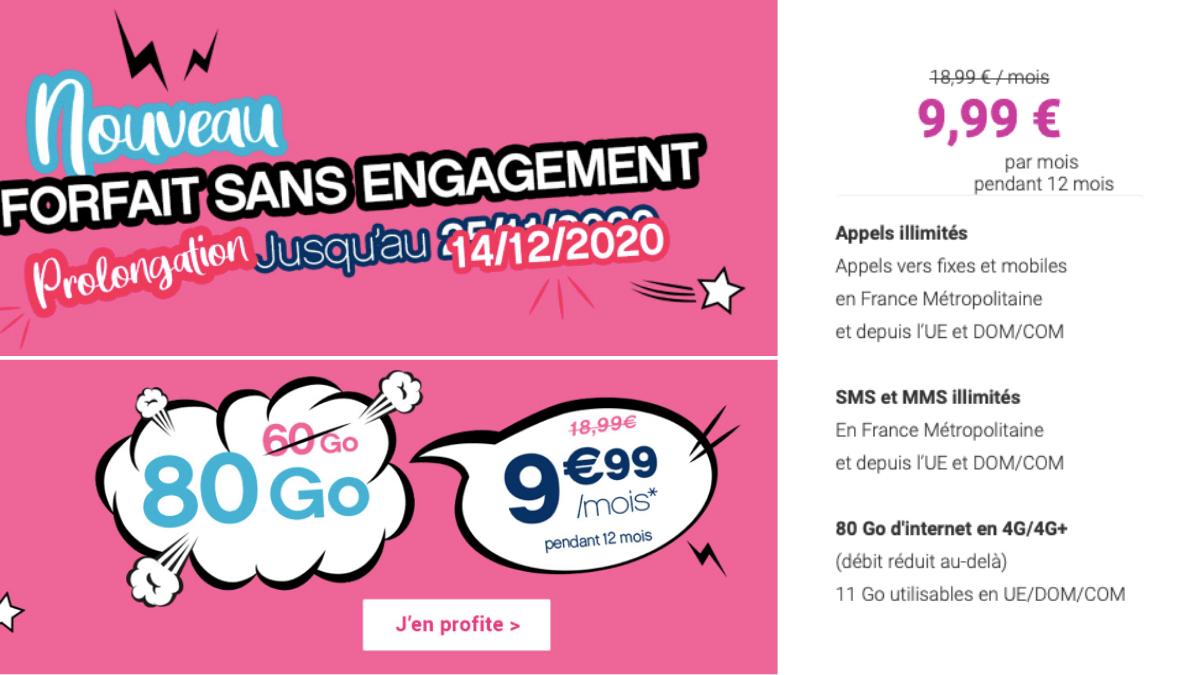 Coriolis Télécom propose son forfait 80 Go à 9,99€ par mois.