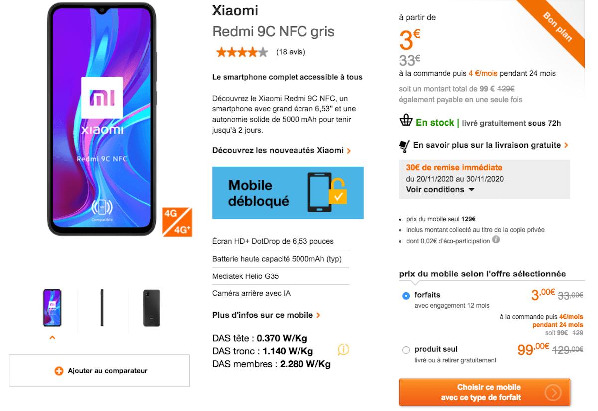 Cyber Monday Orange Xiaomi Redmi offre smartphone pas cher