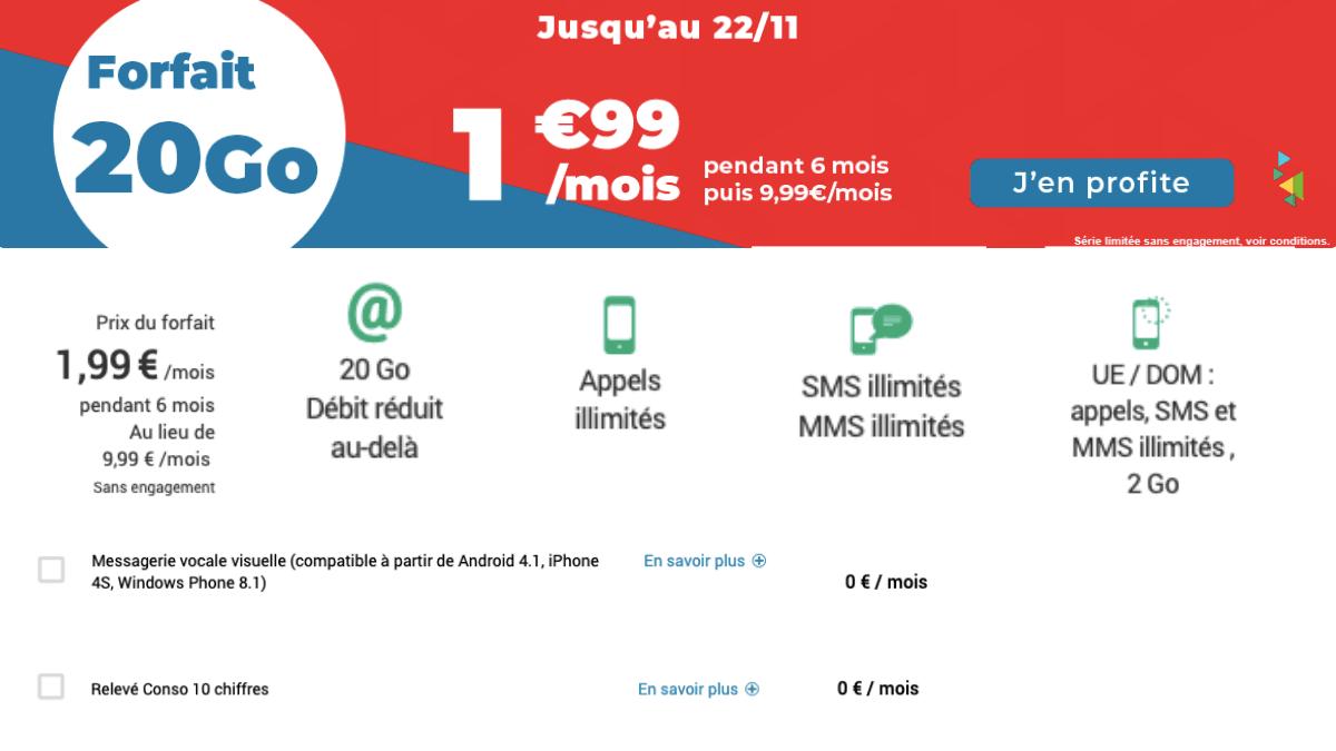 Un forfait 20 Go pour 1,99€/mois chez Auchan télécom.