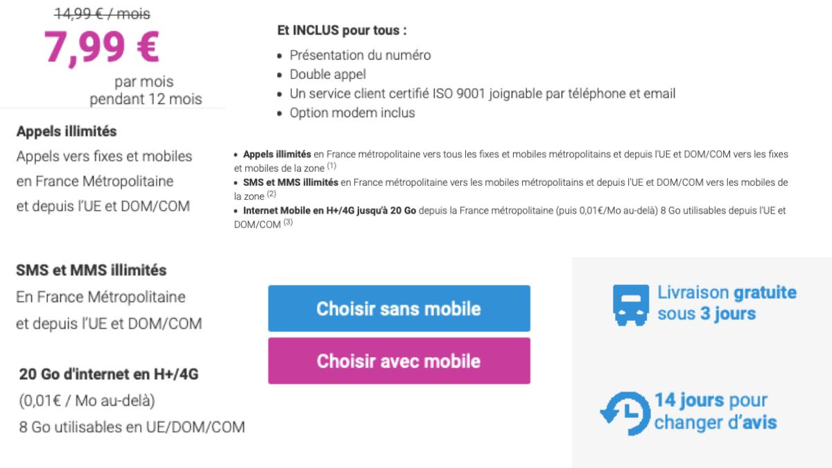 Forfait mobile de Coriolis Telecom pour 7,99€/mois avec 20 Go.