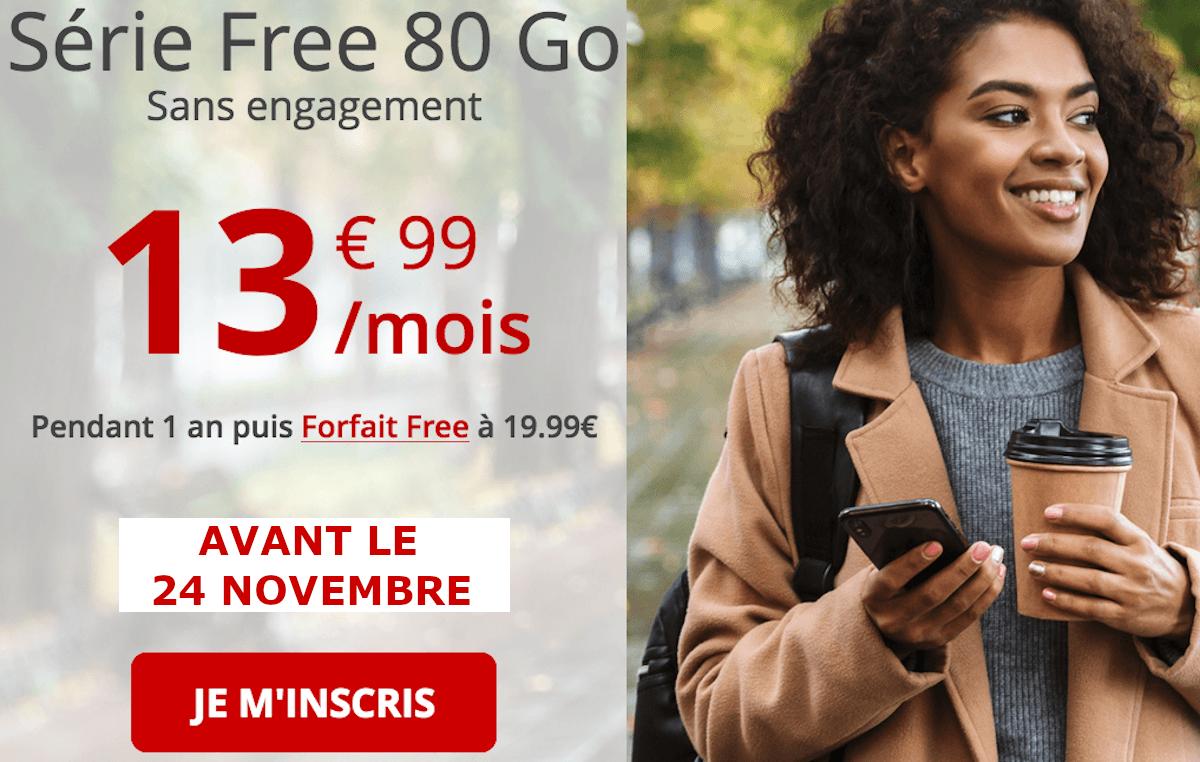 Forfait 4G Free Mobile 80 Go