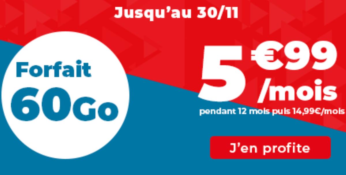 Forfait 4G sans engagement promo Auchan télécom