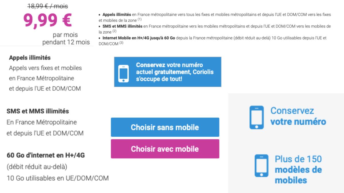 Coriolis Telecom propose un forfait mobile avec 60 Go pour 9,99€/mois.