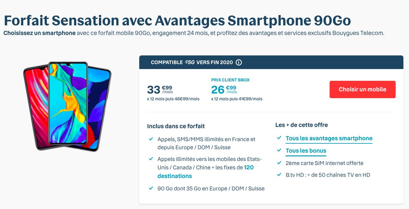 Forfait Sensation 90 Go chez Bouygues Telecom