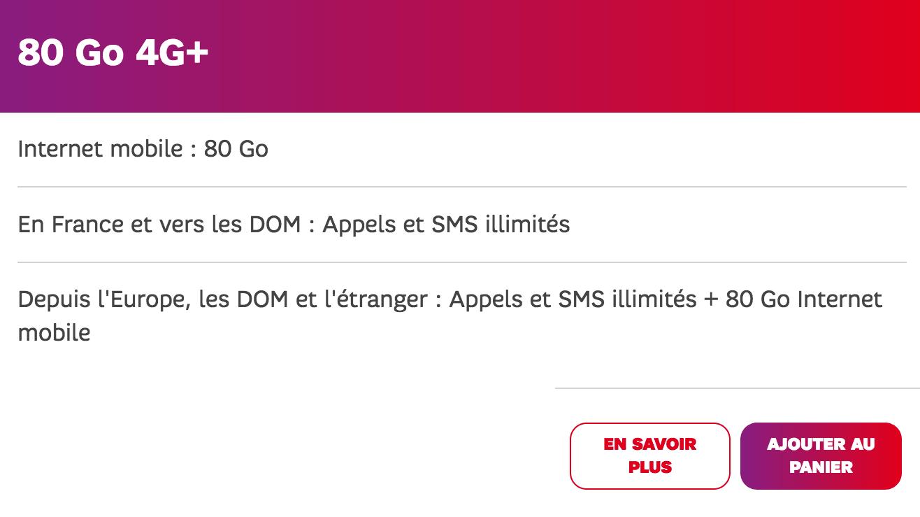 Forfait mobile 80 Go 4G+ SFR