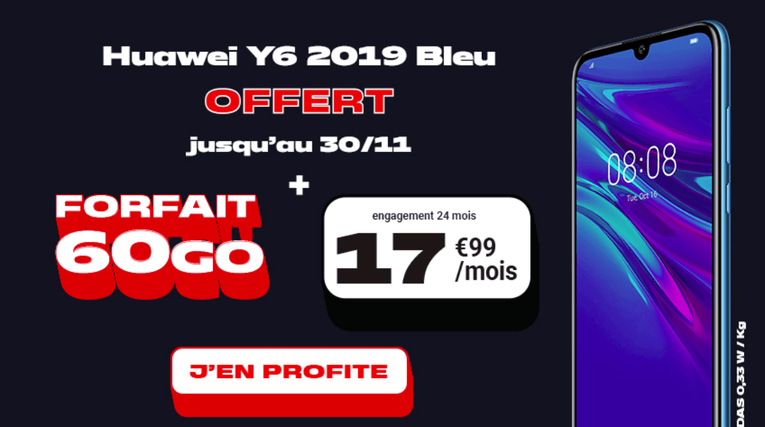 NRJ mobile forfait 60 Go avec Huawei Y6 2019