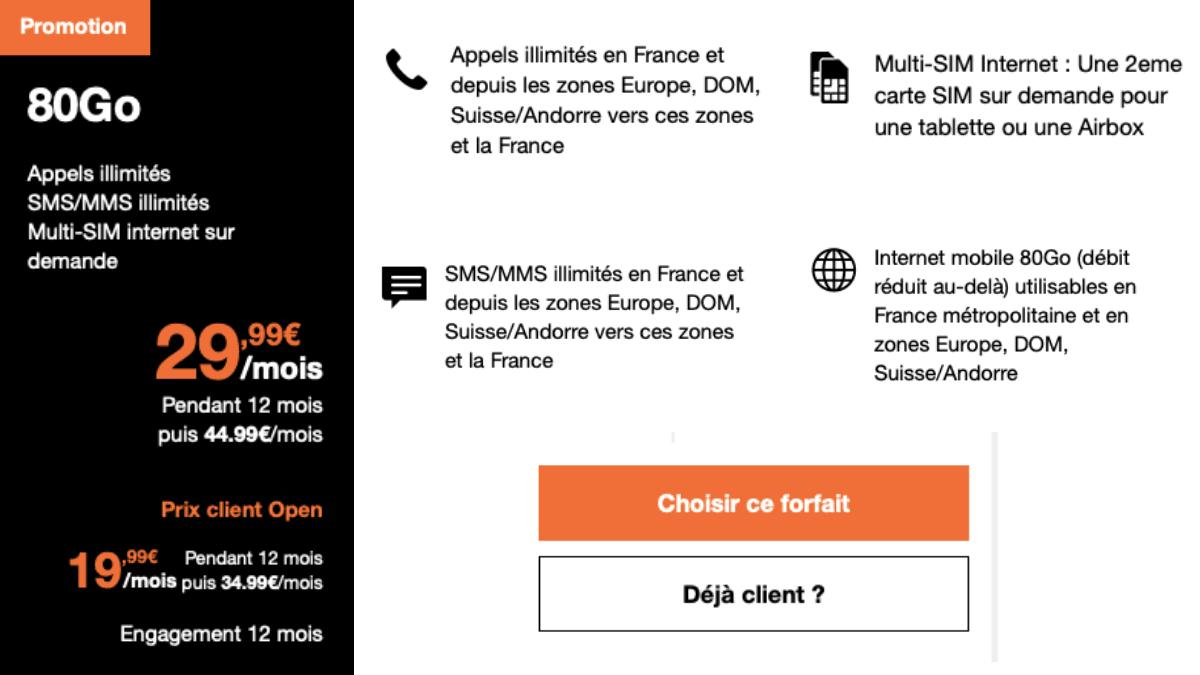 Orange propose son forfait 80 Go à 29,99€/mois.