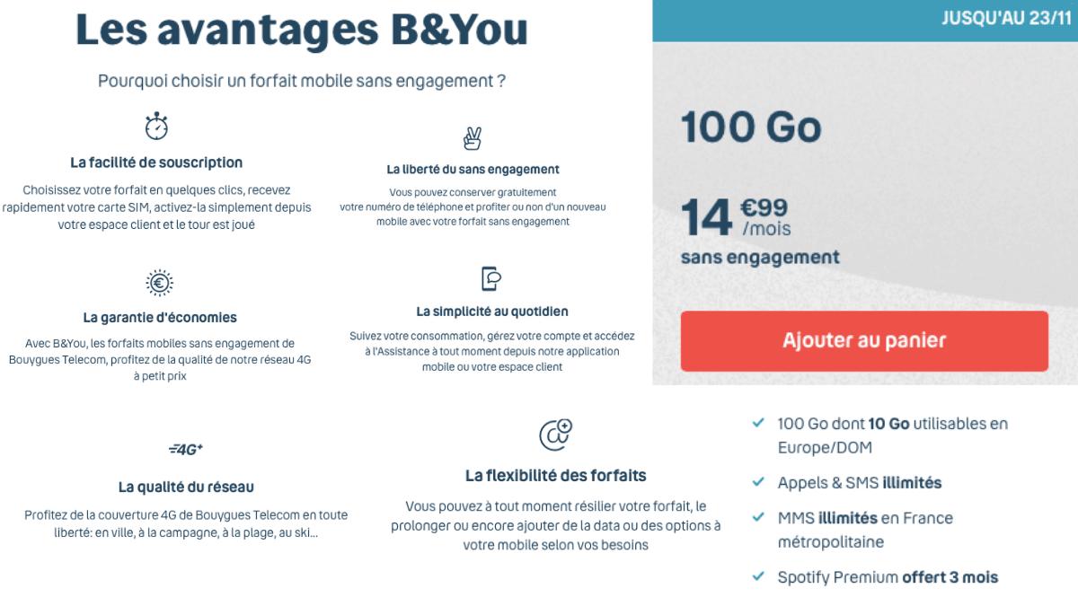 Les promos B&YOU proposent un forfait 100 Go pour 14,99€/mois.
