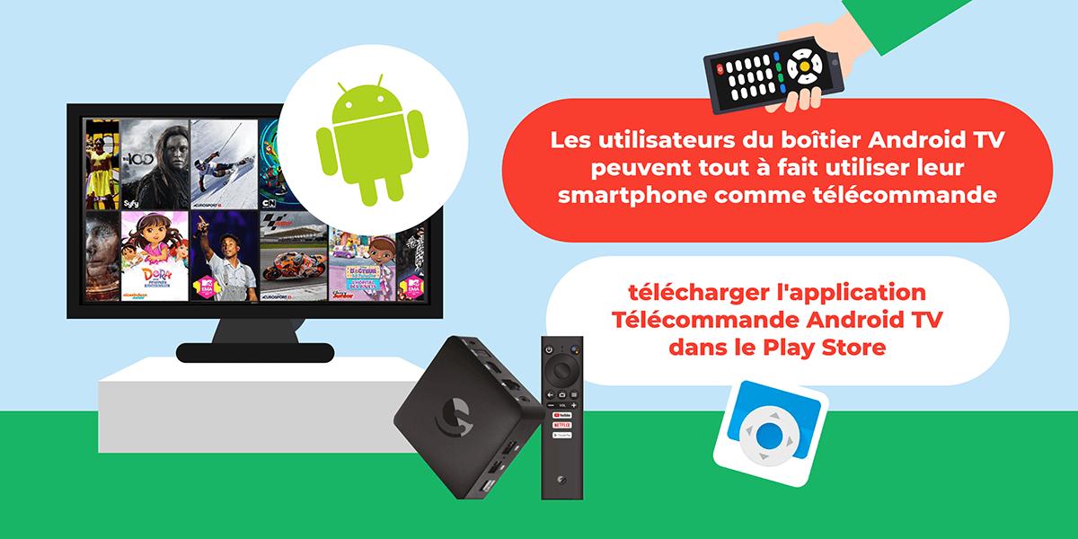 Android TV télécommande smartphone.