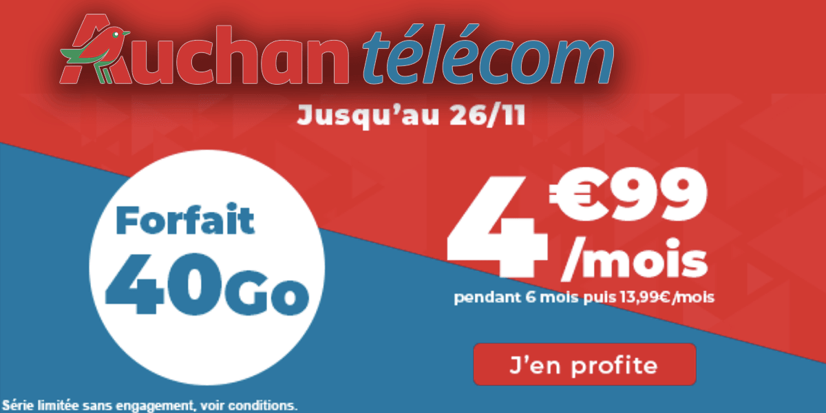 forfait 4G Auchan télécom 40 Go