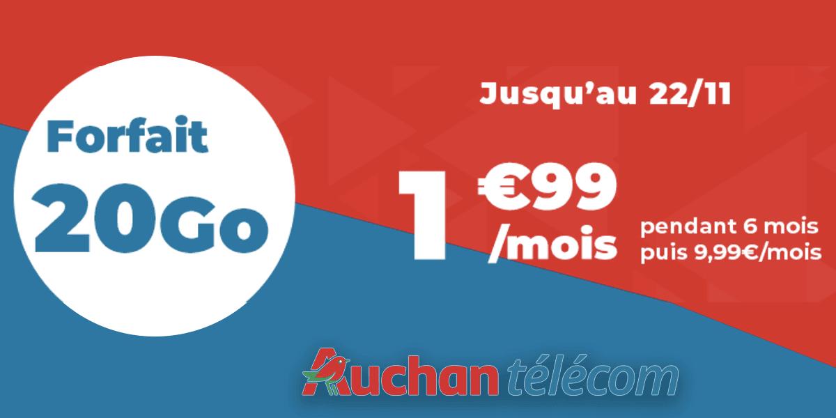 offre mobile forfait 20 Go Auchan