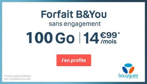Forfait 100 Go en promo B&YOU.