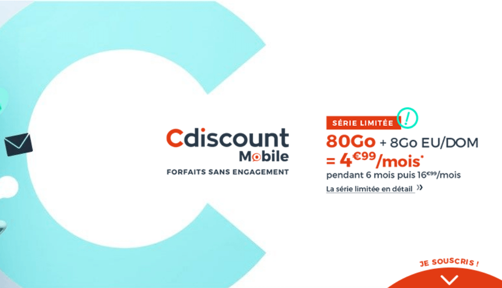 offre Cdiscount forfait 80 Go