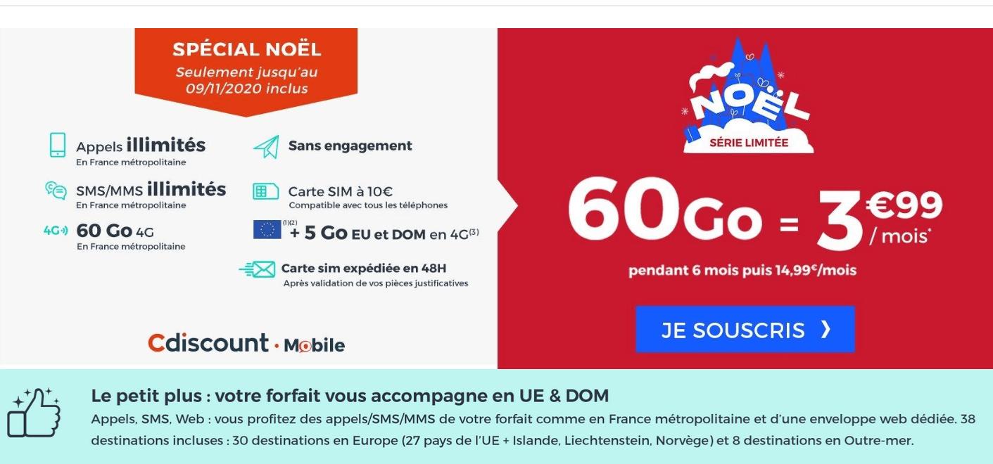 Cdicount Mobile : 3,99€ 60 Go forfait mobile