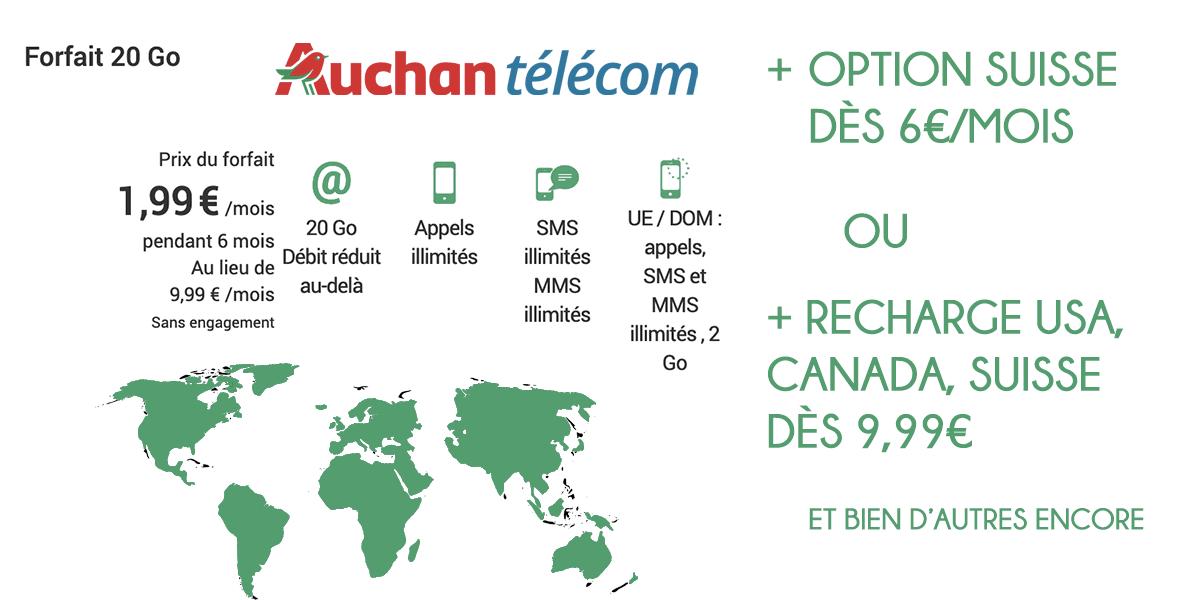 auchan télécom forfait 20 go avec options