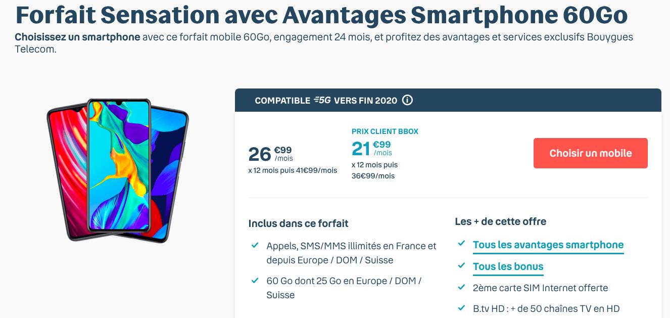 60 Go forfait 5G de Bouygues Telecom