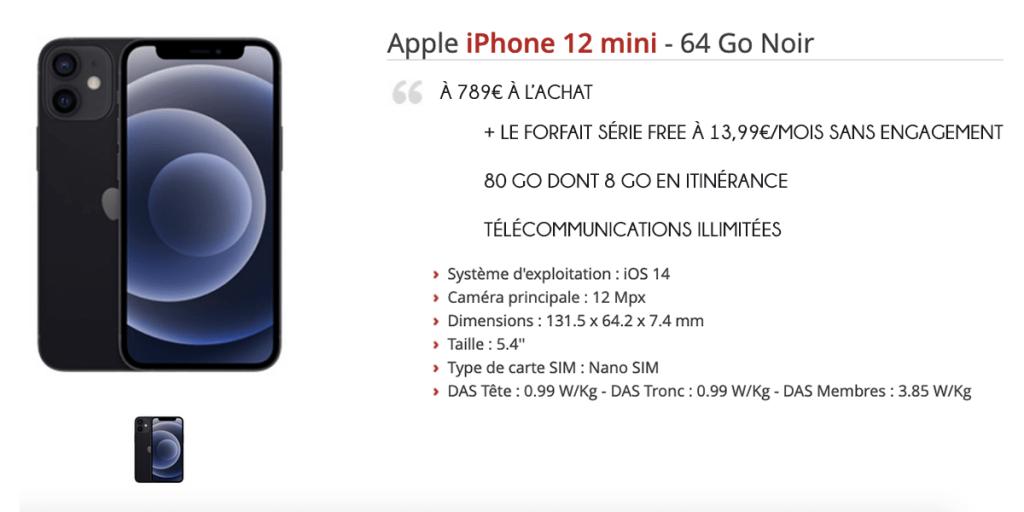 iPhone 12 mini offre Free