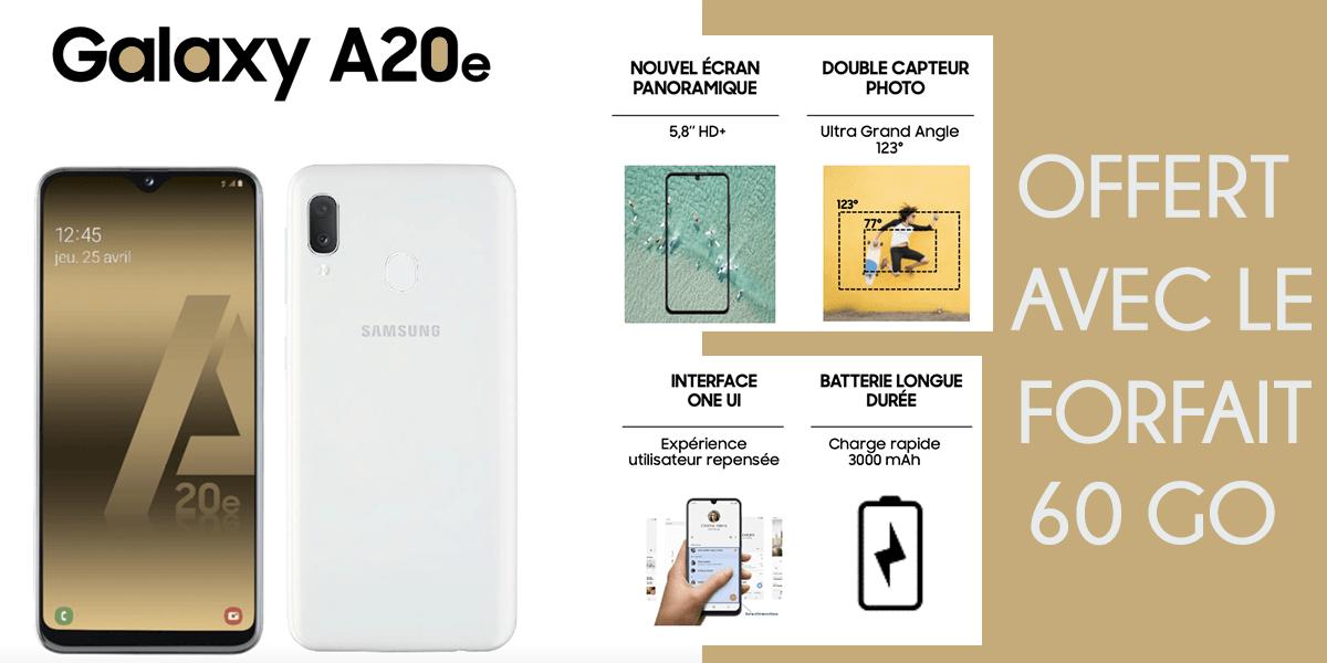 Galaxy A20E offert avec forfait Cdiscount