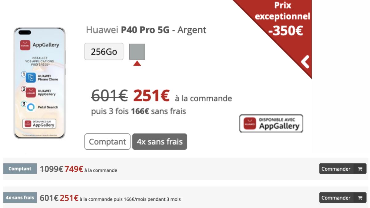 Le Huawei P40 Pro chez Free