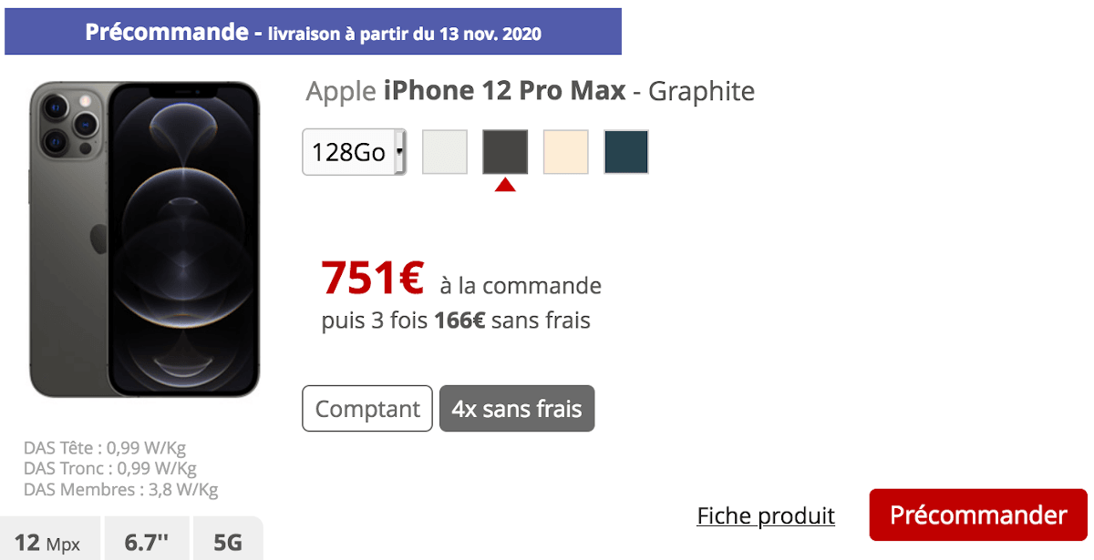iPhone 12 Pro Max Free Mobile