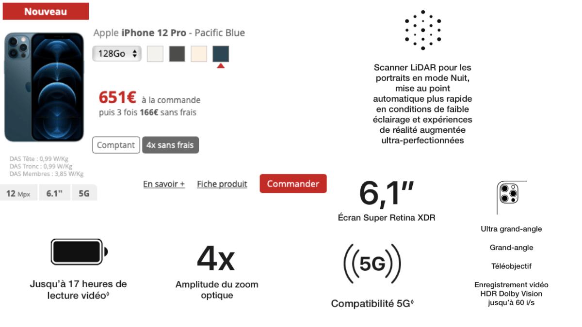 iphone 12 pro chez Free