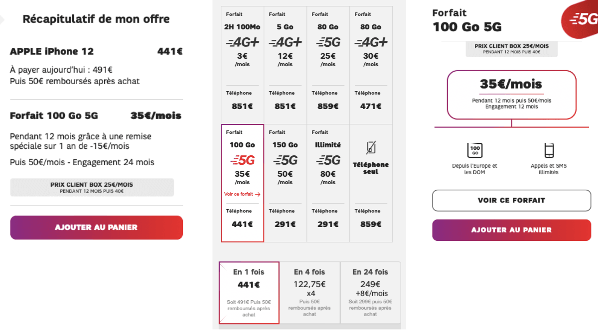 Dès 441€ pour l'iPhone 12 avec le forfait 100 Go de SFR.
